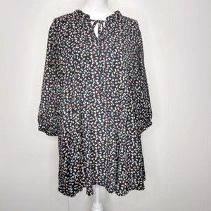 Black Rainn WMs Plus 1X Black Heart Print Blouse